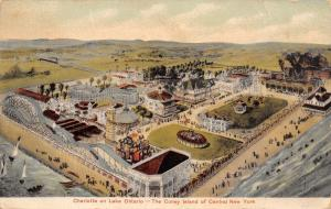 Charlotte NY Amusement Park~Two Roller Coasters~Carousel~1909 Postcard