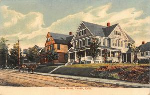 Putnam CT~Grove Street Mansions~Big Houses~Horse Buggy~Couple on Lawn~1908 PC