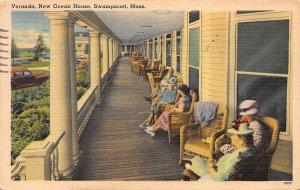 Veranda, New Ocean House, Swampscott, Massachusetts., Postcard, Used