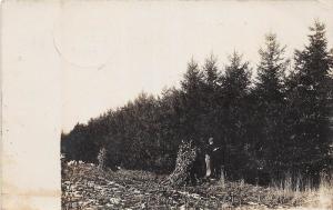 D27/ Larrabee Iowa Ia Real Photo RPPC Postcard 1908 Corn Shocks Farmer