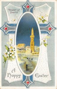 EASTER GREETINGS 1912 Embossed Postcard Tower of David Cross by Birn Bros