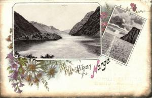 norway norge, Multiview, Sørfjord, Nordkap (1899) Postcard