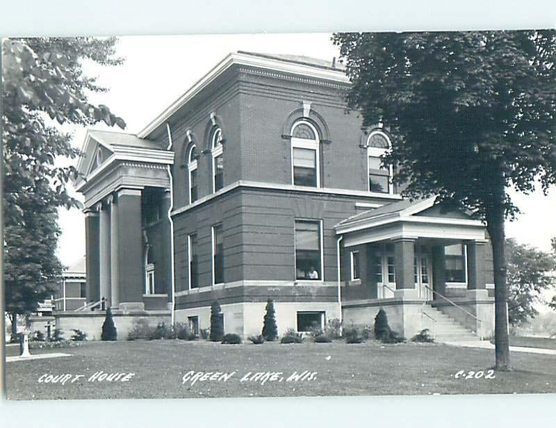 Pre-1950 rppc COURT HOUSE BUILDING Green Lake Wisconsin WI HM3707