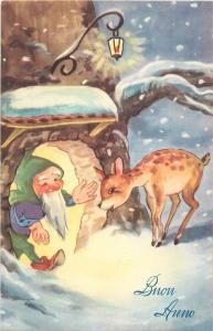New Year winter fantasy elf tree house dwarf Bambi deer gnome caricature lamp