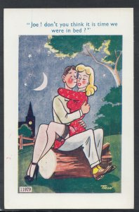 Comic Postcard- Saucy / Risque / Couple / Bed / Stockings - Artist Trow P443