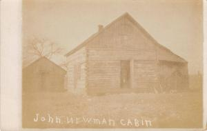 Real Photo Postcard~John Newman Cabin~Small Shed out Back~1908 RPPC