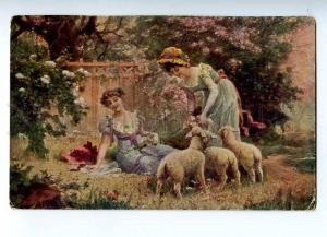 187545 SPRING Girls Garden w/ Sheep by ZATZKA Vintage color PC