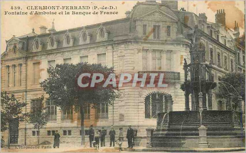 Old Postcard Clermont Ferrand (P D) Amboise Fountain and the Bank of France