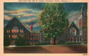 Asheville, NC, Central Methodist Church at Night, Linen Vintage Postcard g773