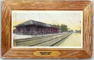 Osceola, Iowa Postcard BURLINGTON DEPOT Railroad Train Station Scene 1908 Cancel
