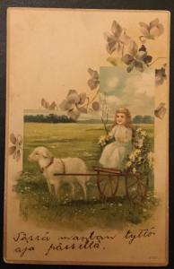 Postcard Unused Little Girl Sheep Carriage Flowers writing on front/back LB