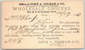 1880 Chicago Advertising Postcard John A Tollman & Co. WHOLESALE GROCERS /Cancel