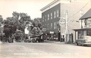Readfield Corners ME Store Front Flying A Gas Station Old Cars RPPC Postcard