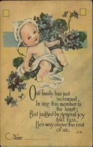 Birth Announcement - Cute Baby Series 5035 c1915 Postcard #2