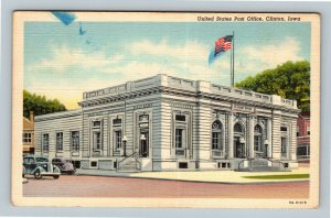 Clinton IA, United States Post Office, Linen Iowa Postcard