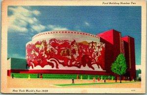 NEW YORK WORLD'S FAIR Official Postcard Food Building Linen w/ 1940 Cancel