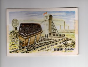 Traincar of Nickel-Copper Ore, Sudbury, Ontario, Novelty Postcard Real Coal Bits