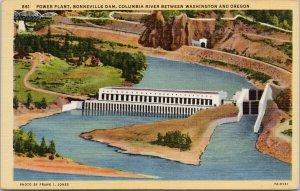 Power Plant Bonneville Dam btwn OR & WA c1945 Transfer Office RMS Postcard F42