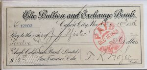 The Bullion and Exchange Bank - San Francisco , CA California - 1886 PAID CHECK