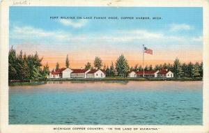 Copper Harbor Michigan~Fort Wilkins~Lake Fannie Hooe~1940s Postcard
