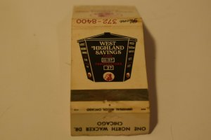 West Highland Savings Chicago Illinois Advertising 20 Strike Matchbook Cover