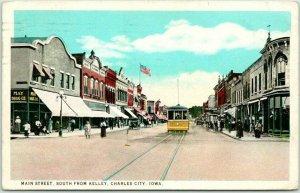 Charles City, Iowa Postcard MAIN STREET, South from Kelley Trolley 1925 Cancel