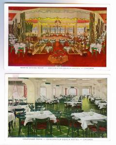 (2) Edgewater Beach Hotel, Chicago PC's, Marine Dining & Colonnade Rooms