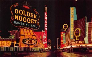 Las Vegas NV Fremont Street  Golden Nugget 50's Cars Postcard