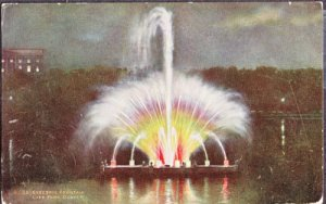 ELECTRIC FOUNTAIN Night time view shows colorful lit fountain at City Park 1911