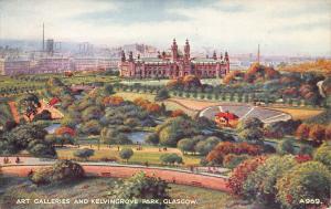 Art Galleries & Kelvingrove Park, Glasgow, Scotland, Early Postcard, Unused