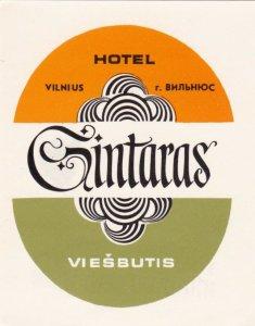 Russia Viesbutis Hotel Gintaras Vintage Luggage Label sk1498