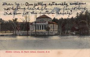 Sheldon Library, St. Paul's School, Concord, N.H., early postcard, Used in 1908