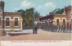 BROOKLYN NAVY YARD NY - Relieving Guard at Sands Street 1910s era / SOLDIERS