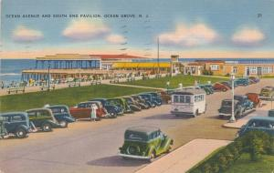 Old Autos on Ocean Drive at South End Pavilion Ocean Grove NJ New Jersey pm 1937