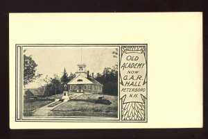 Peterboro, New Hampshire/NH Postcard, Old Academy Now G.A.R. Hall