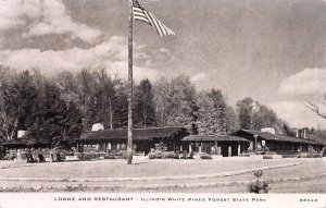 Lodge and Restaurant, illinois White Pines, Forest State Park, Early Postcard