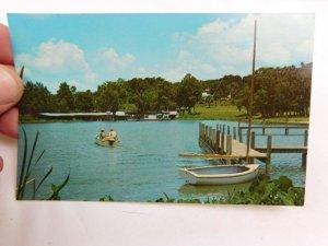 Dock & Boats on Lake at Mt. Dora, Florida Vintage Postcard P28