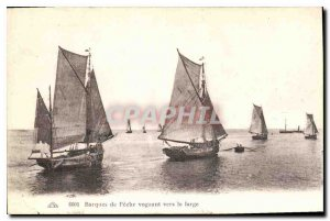 Postcard Old Fishing Boats of sailing out to sea