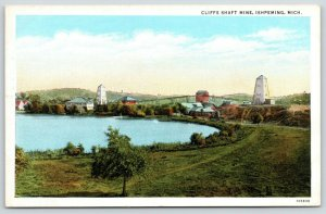 Ishpeming Michigan~Cleveland Cliffs Iron Ore Shaft Mine~1930s Linen Postcard