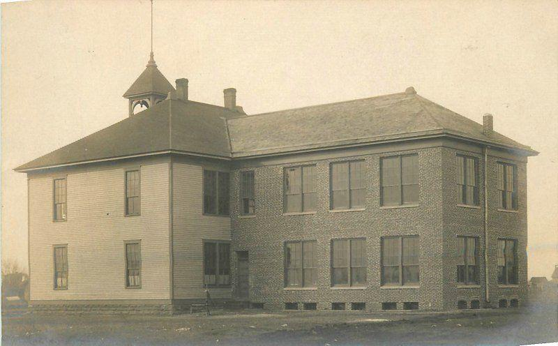 Cheney Kansas 1908 High School Building Sedgwick County RPPC real photo 5562