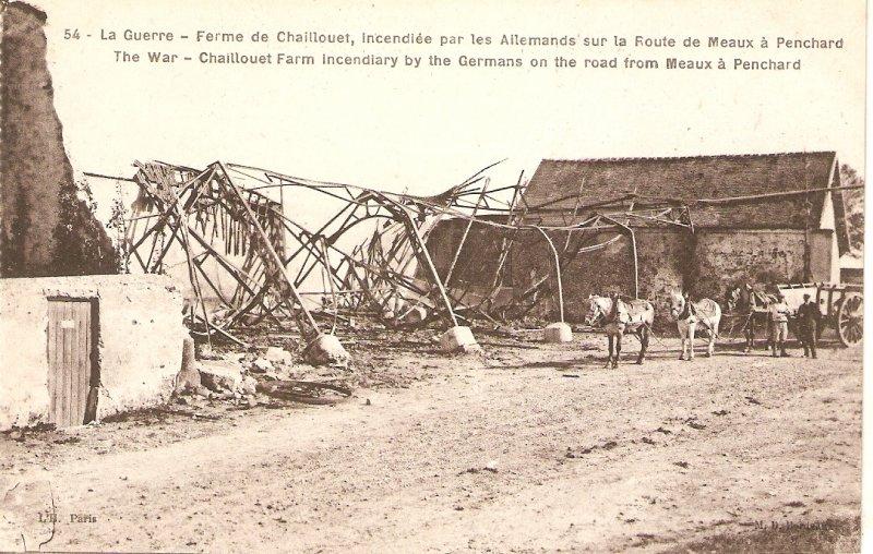 1st. World War. Cahillouet farm burned byy Germans. Horses Vintage French Post