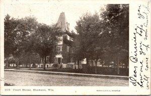 Shawano WI Court House RPPC Postcard used 1907