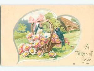 Pre-Linen valentine BLUE BIRDS SIT ON WICKER BASKET OF DAISY FLOWERS k5734