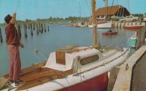 Man Anchoring Boat  At Bosham Quay Harbour Sussex Postcard