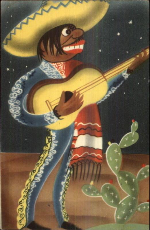 Art Deco - Mexico Musician w/ Guitar Mariachi etc Serenade Postcard