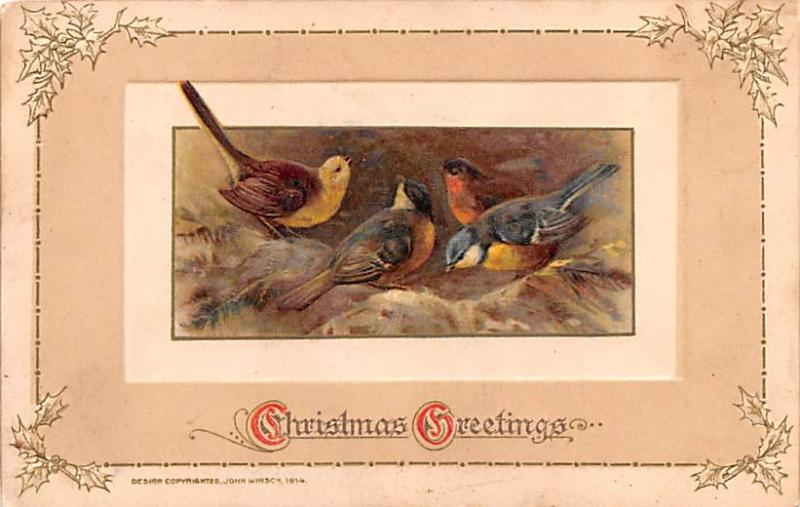 Christmas Postcard Old Vintage Antique Post Card 1914 John Winsch
