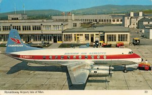 Postcard, Vickers Viscount British Air Services, Ronaldsway Airport, Isle of Man