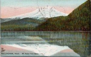 Bellingham WA Mount Baker from Baker Lake c1908 Tuck Postcard G26