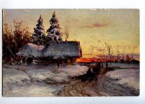 131867 RUSSIA Winter Evening Village by PROKOFIEV vintage PC