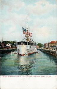 Charlestown MA Navy Yard Cruiser Maryland in Dock Unused Postcard F4